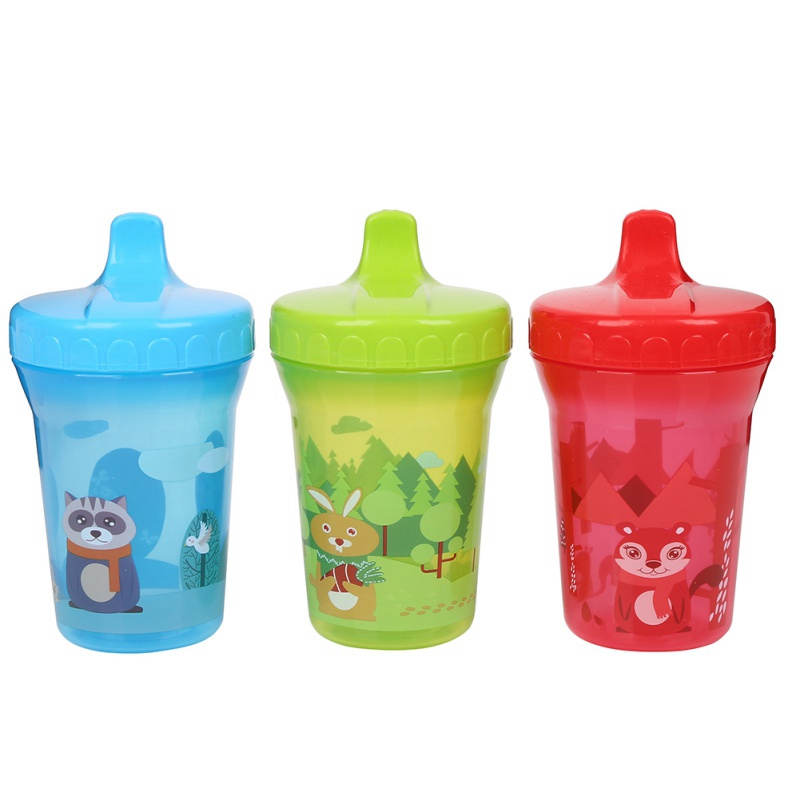 300ML Baby PP Water Bottle With Duckbill Mouth Shape 3 Colors Cartoon Animals Pattern High Quality Feeding Baby Training Cup