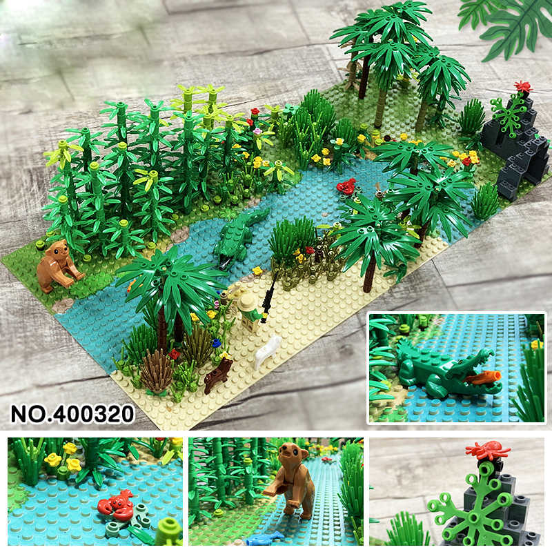 32*32 Dots Classic Base Plates Tropical Rainy Climate Plastic Baseplates Green Jungle  Compatible legoingly Building Blocks Toys Rainforest Baseplate Parts Animal Green Grass Jungle Bush Flower Tree Plants
