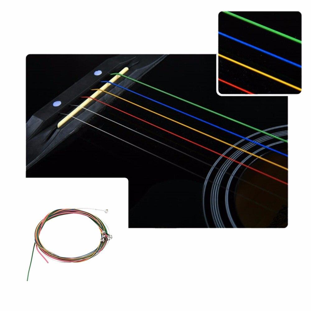 Alloy Guitar Strings Set 6Pcs Guitar String Multiple Color 1-6 E B G D A E Colorful Firm Copper For Acoustic Guitar Equipment