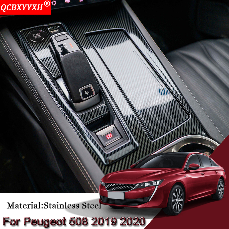 Car Styling Carbon For Peugeot 508 2019-Present Gear Box Panel Cover Sequin Internal Decorations Car Stickers Accessories