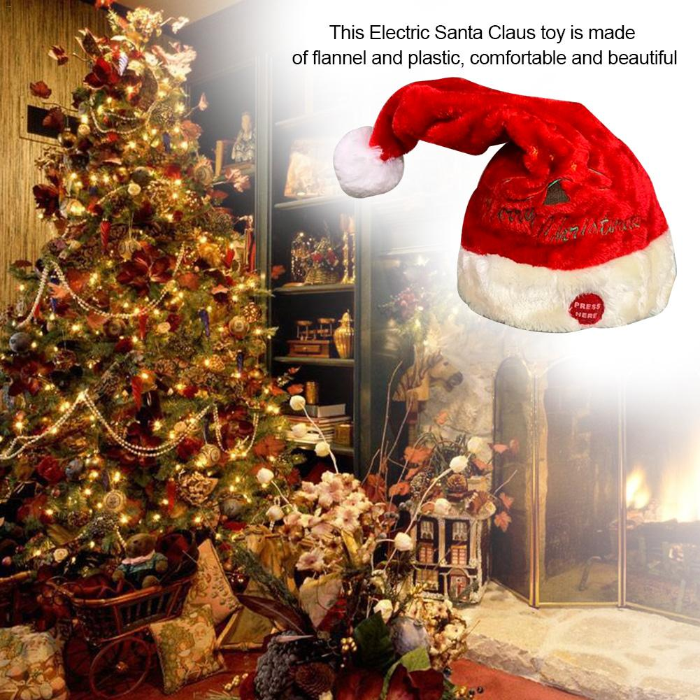 Children Electric Toy Christmas Hat Christmas Music Swing Cap Party Decoration Christmas Gift Music Swing Santa Claus Hat