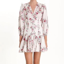 2019 autumn summer sexy V-neck Print dress women full sleeve Pleated Bohemian holiday bandage dress
