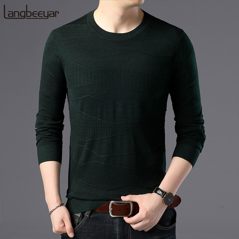 Fashion Brand Sweater For Mens Pullover Slim Fit Solid Color Jumpers Knitting Patterns Autumn Korean Style Casual Mens Clothes
