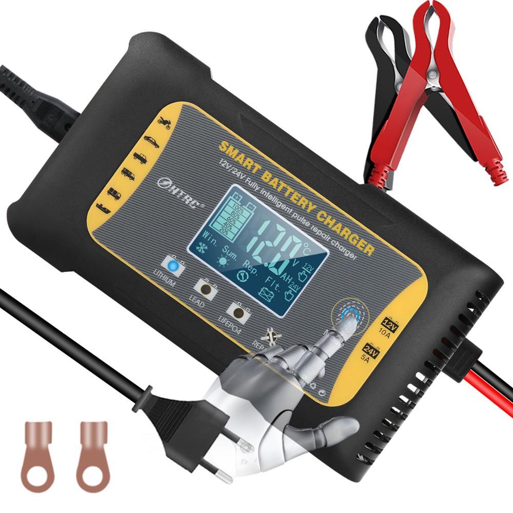 Автомобильное зарядное устройство для аккумуляторов HTRC 12 В/24 В 10 а 7-быстрая зарядка для литиевых LiFePO4 AGM GEL свинцово-кислотных аккумуляторов