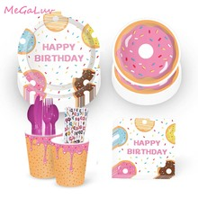 89pcs Birthday Donut Party Tableware Kit Doughnut Plate Cup Straw Napkins Spoon Forks Knife Baby Shower Parti Favors Supplies