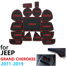 Anti Slip Rubber Cup Cushion Door Groove Mat for Jeep Grand Cherokee WK2 2011~2019 2013 2015 2017 Accessories mat for phone