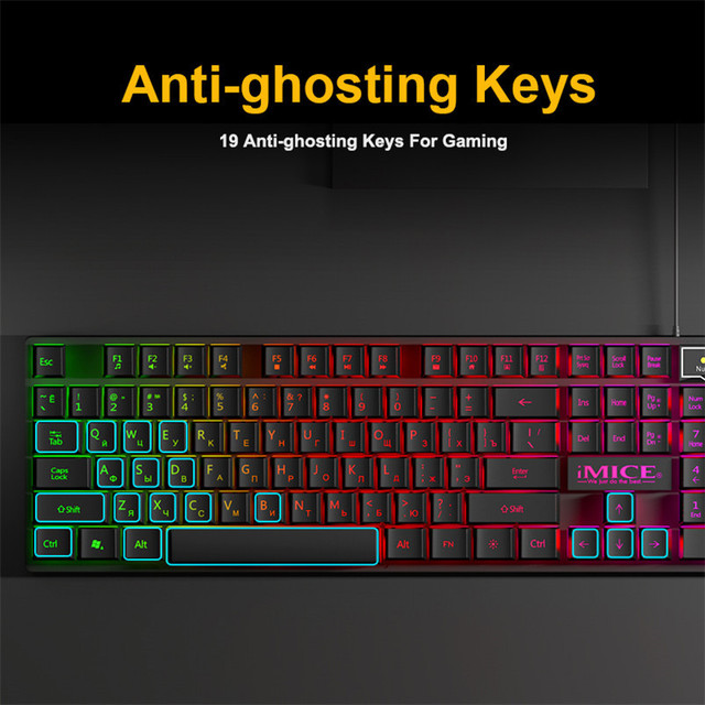 Gaming keyboard Wired Gaming Mouse Kit 104 Keycaps With RGB Backlight Russian keyboard Gamer Ergonomic Silent Mause For Laptop 3