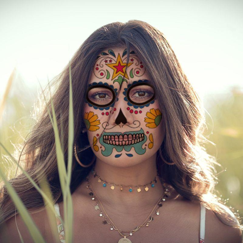 Halloween cara tatuajes temporales calcomanías Día de los muertos azúcar cráneo Floral esqueleto máscara Unisex mexicano fiesta Favor suministros - 2