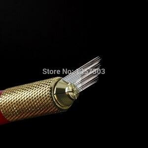 Image 3 - 100個3行ライン16Pin針恒久眉毛メイク針microbladingペンマニュアル刺繍送料無料のための