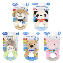 Newborn Rattle Ring Bell Baby Cartoon Animal Rattle Cute Plush Animal Hand Bells Infant Early Educational Doll Toy