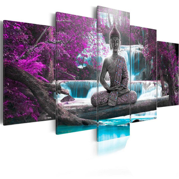 HUACAN 5pcs/set Diamond Painting 5D Buddha Religion Full Drill Square Diamond Embroidery Waterfall Cross Stitch Multi-picture 6