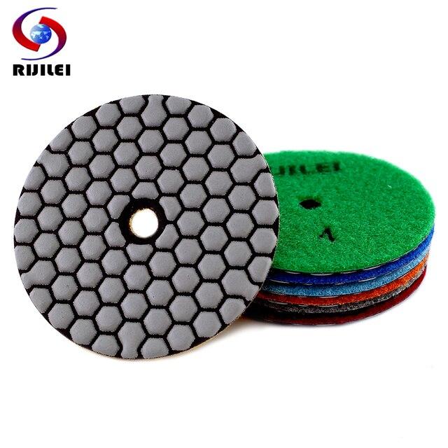 RIJILEI 6PCS 4 인치 드라이 폴리싱 패드 유연한 수지 100mm 다이아몬드 연마 패드 대리석 콘크리트 바닥 그라인딩 디스크