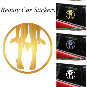 Car Warning Sticker Beauty Women Auto Decal Reflective Waterproof PVC Car Stickers For Car External Decoration Accessories image
