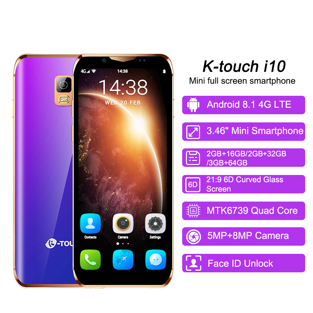 """Support Google Play 3.46"""" small mini mobile phone android 8.1 MTK6739 Quad Core 4G smartphone 2GB RAM 16GB 64GB ROM K-Touch i10"""