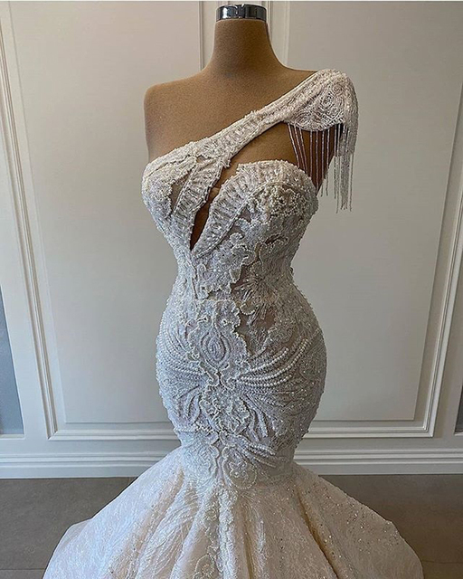 One Shoulder Mermaid Wedding Dresses Beaded Crystal Lace Applique Tassel Bridal Gown for Wedding Party vestidos de novia 4