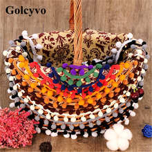1Meter Colorful Acrylic Yarn Pompom Tassel Lace Trims Ribbon Fringe Curtain Skirt DIY Crafts Charms 2cm Width