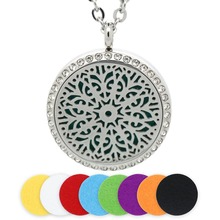 BOFEE Crystal Aromatherapy Necklace Pendant Diffuser Perfume Magnetic Flower Stainless Steel Essential Oil Locket Jewelry Gift