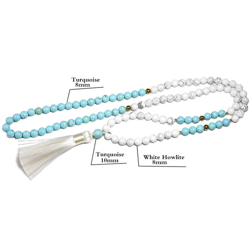 8 Mm Natuurlijke Witte Howliet Kralen En Blauw Turquoise Armband Voor Vrouwen Mannen Ketting Sets Meditatie 108 Mala Kralen sieraden