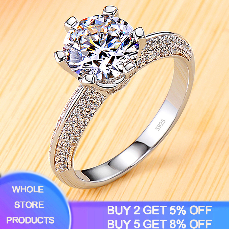 YANHUI Classic Zirconia Diamond Wedding Engagement Rings For Women 100% Real 925 Sterling Silver Ring New Fashion Jewelry JZ179