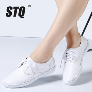 Image 1 - STQ 2020 Spring Women Ballet Flats Oxford Flat Shoes Soft Leather Shoes Ladies Lace Up White Black Loafers Flats Boat Shoes B16