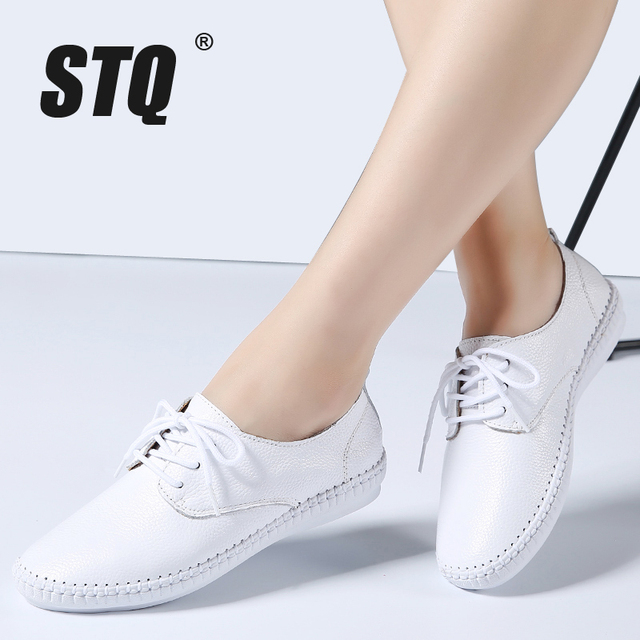STQ 2020 Spring Women Ballet Flats Oxford Flat Shoes Soft Leather Shoes Ladies Lace Up White Black Loafers Flats Boat Shoes B16