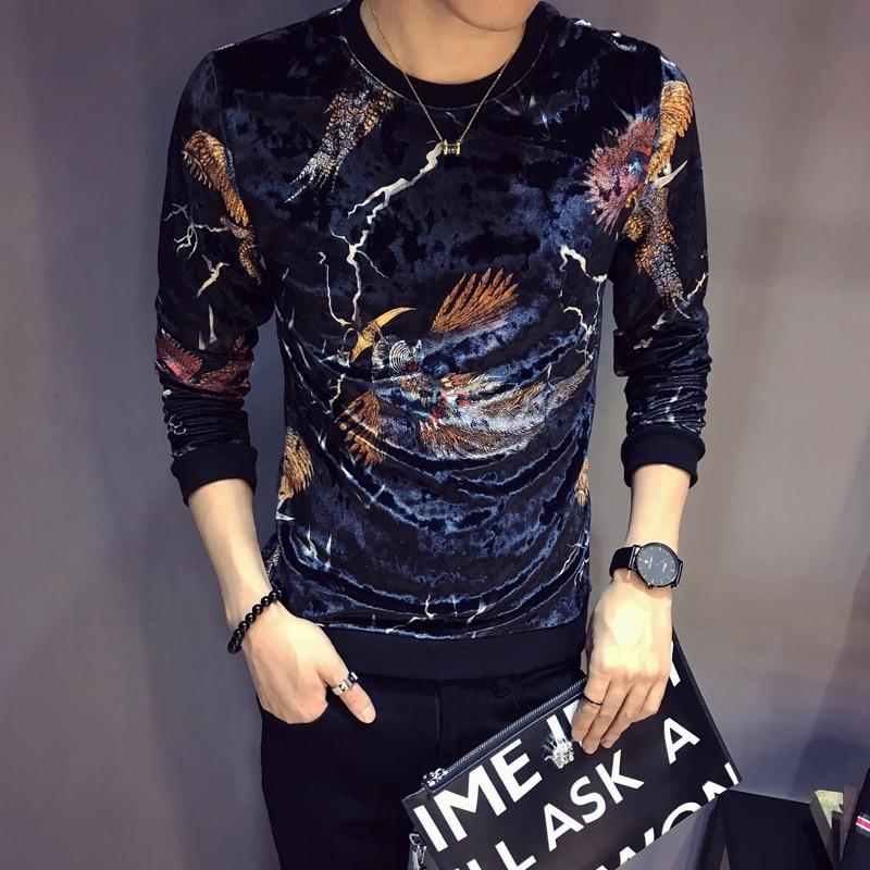 Luxury Velvet T Shirt Men Design Printing T Shirt Homme Club Outfit Men Slim Fit Long Sleeve O Neck Velvet T Shirt 2019 Autumn