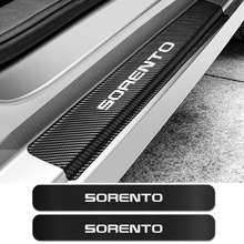 4敷居4本の車ステッカー起亜ソレントスカッフプレートオートアンチスクラッチプロテクターカーボンファイバーステッカー車チューニングアクセサリー