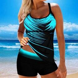 Women Backless Tankini Swimwear Plus Size 8XL Beach Back Tie Female Bathing Suit Sexy Fashion Tankini Shorts Swimming Suit