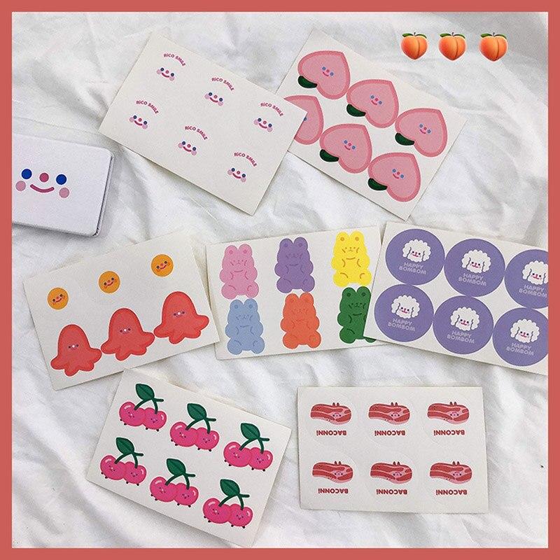 5 Sheets Cute Bear Stickers Kawaii Fruit Decorative Stickers Decorative Adhesive Sticker Diary Scrapbooking Supplies