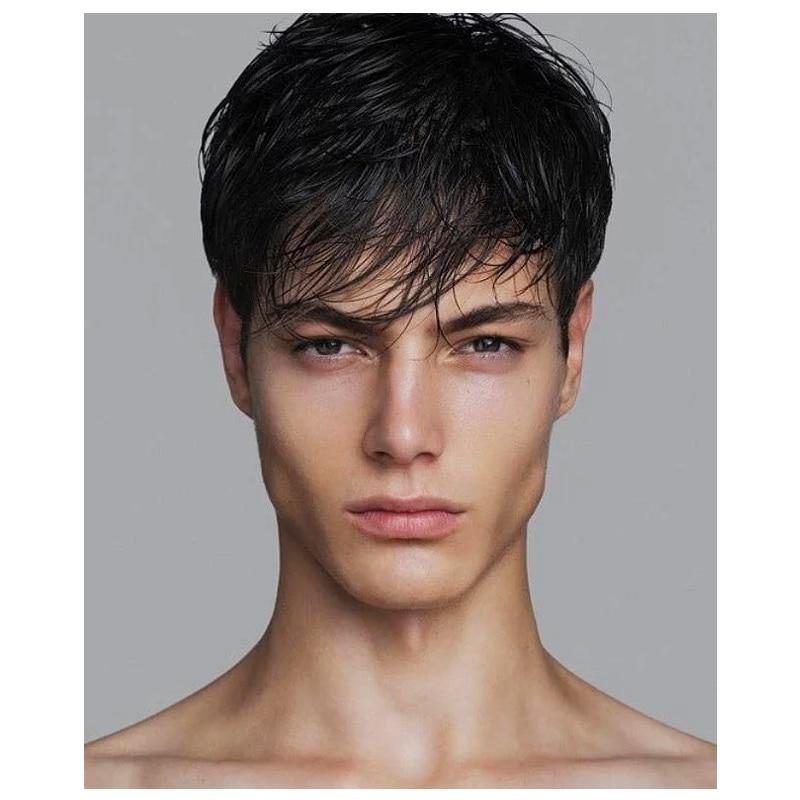 Короткий Мужской парик прямой синтетический парик для мужчин флисовые реалистичные натуральные черные искусственные человеческие волосы ...