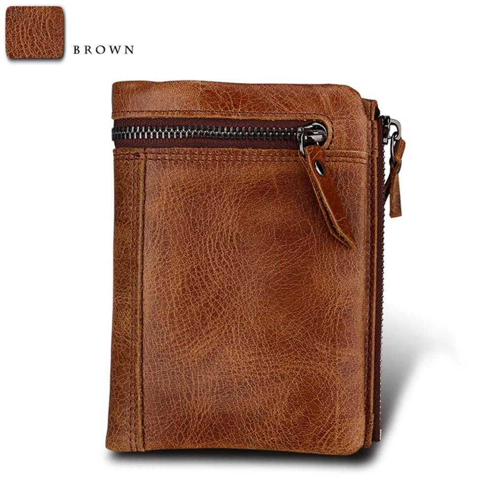 Men's Crazy Horse Leather RFID Short Wallets Genuine Leather Men Wallet High Quality Credit Card Holder Coin Purse Travel Wallet