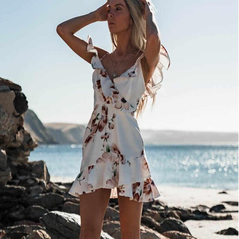 שרוולים צווארון V ספגטי רצועות חוף פרחוני ראפלס טנק מיני שמלת נשים עף שרוול שמלה קיצית שיפון תחבושת שמלות