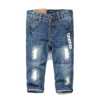 Denim with Elastic-waist Slim Jeans