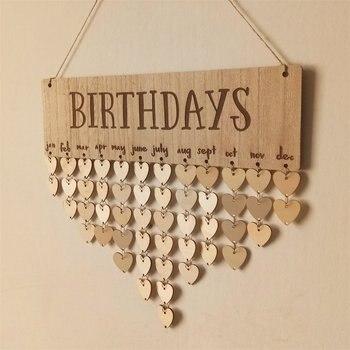 Adorable tablero de adorno colgante con cumpleaños letras mayúsculas madera Natural tablero de cumpleaños grano decoración para el hogar