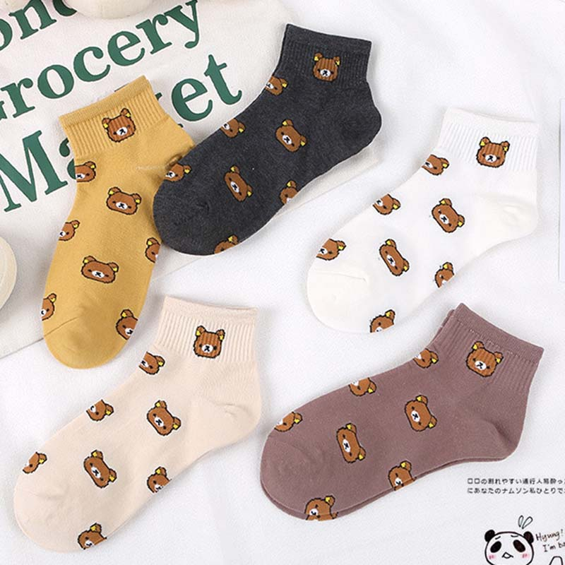 2 Pairs Summer New Style, Women Cartoon Hosiery, Pure Cotton, Casual Little Bear, Korean College Wind Women's Socks Hosiery