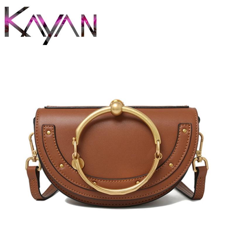 Newest Luxury Women Bag Designer Crossbody Bag Half Moon Handbag Fashion Leather Shoulder Bag Ring Ladies Bag Saddle Bag