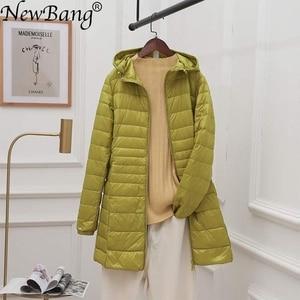 Image 1 - NewBang 8XL Ladies Long Warm Down Coat With Portable Storage Bag Women Ultra Light Down Jacket Womens Overcoats Hip Length