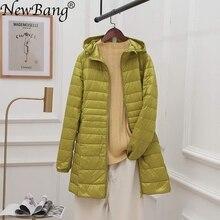 NewBang 8XL bayanlar uzun sıcak uzun kaban taşınabilir saklama çantası kadın Ultra hafif şişme mont kadın erkek palto kalça uzunluğu