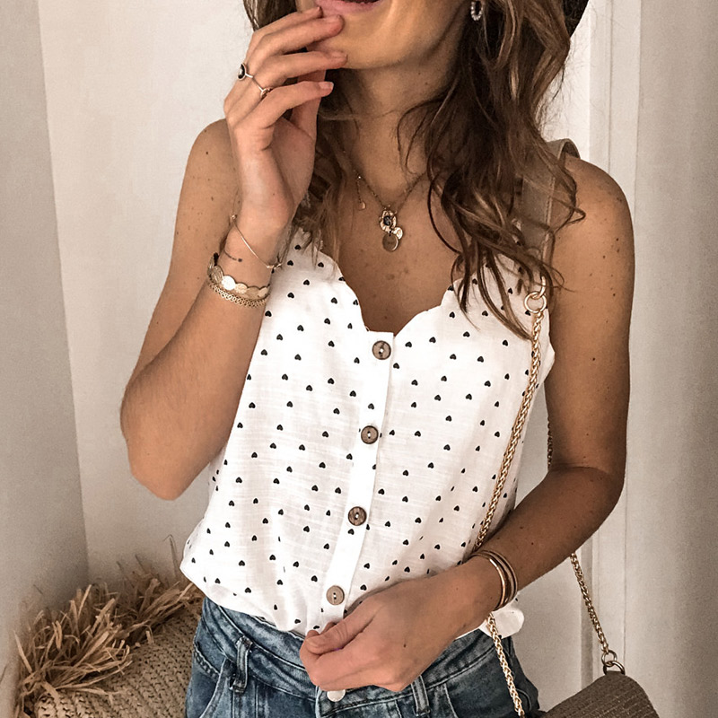 Button Love Printed Summer Blouse Women V Neck Sleeveless Slim Blouses Female 2020 Fashion Casual Plus Size 3XL Ladies Clothes