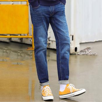 Męskie jeansy dla mężczyzn dopasowane obcisłe spodnie jeansowe projektant spodnie dorywczo szczupłe dżinsy Homme spodnie miękkie Biker Pantalones Hombre tanie i dobre opinie Zipper fly Kieszenie Stałe Denim Proste Medium Kolorowe Udzielenie Szczupła W stylu Preppy Midweight Pełnej długości