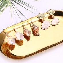 Boho Sea Shell Drop Earrings For Women Gold Color Statement Conch Long Pendant Dangle Earring Bohemian Summer Beach Jewelry 2019 цена