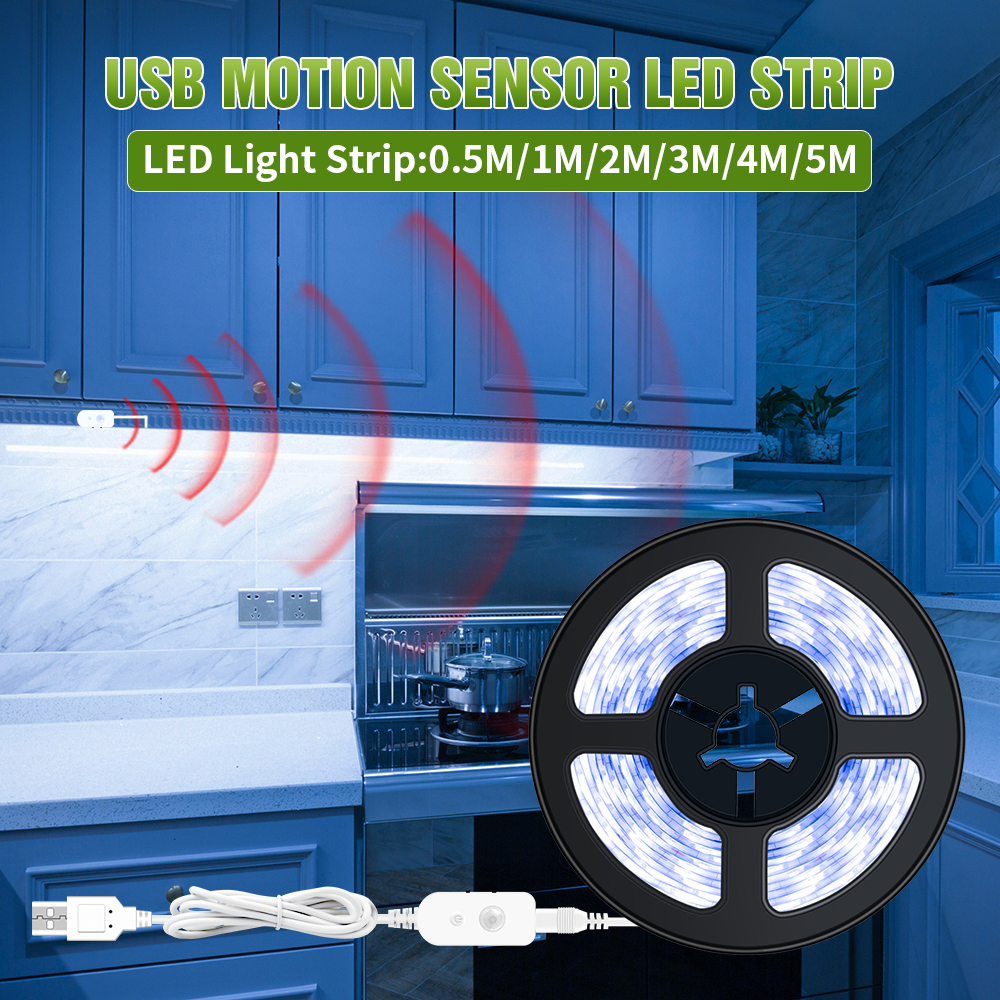 USB 5V PIR Motion Sensor Light Strip LED Cabinet Lamp Closet Kitchen Wardrobe Bedroom Lamp Led Switch Night Light Bulb 2835 SMD