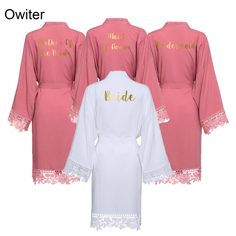 Owiter Women Rayon Cotton Lace Robe Bride Robe Bridesmaid Robes Gown Sleepwear Bridal Wedding Robe