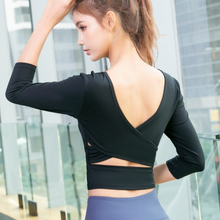 Women Yoga Shirts Slim Fitness Running Shirts Gym Crop Sport Tops Sexy Back Cross T-shirts V-neck Quick Dry Workout Tight Blouse