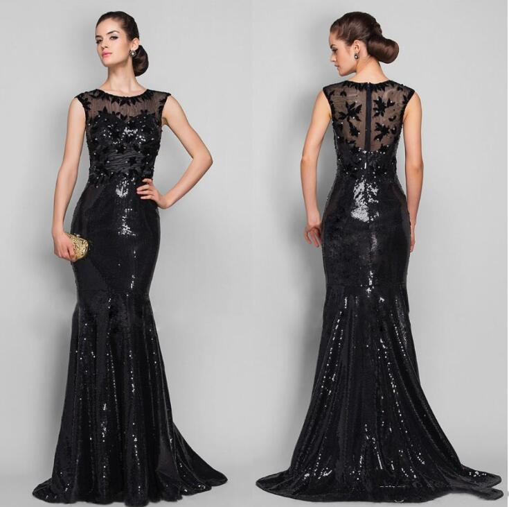 Shine Sparkle Black Sequined Mother of Bride Dresses Formal Evening Party Gowns Mermaid Sheer Neck Appliques Floor Length 2020