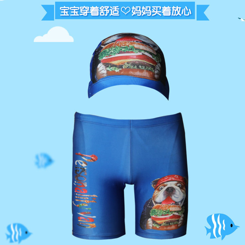 Qian Shuo Xingcheng New Style Hot Springs Beach Fashion Korean-style Cartoon Hooded Big Virgin Boy Short Boxer Swimming Trunks