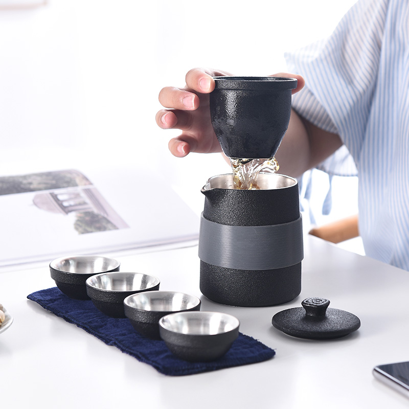 Quick Guest Cup Handmade Silver Travel Kung Fu Tea Set Outdoor Home Simple Mini Carrying Case