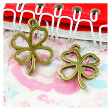 60pcs Charms luck four leaf clover 25*19MM Antique Making pendant fit,Vintage Antique Bronze,DIY Handmade Jewelry