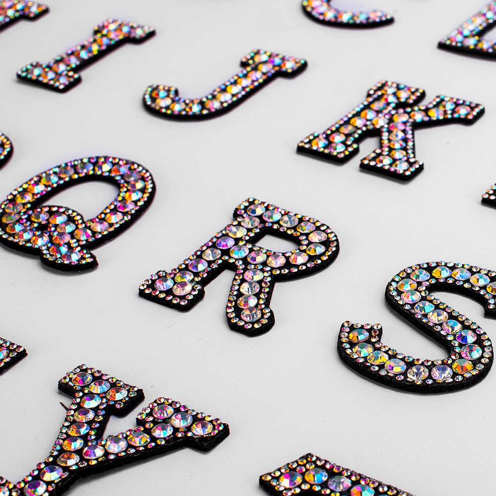 A-Z 1pcs Rhinestone Engels Alfabet Brief Applique 3D Iron On letters Patch Voor Kleding Badge Plakken Voor Kleding Tas schoenen