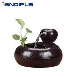 110V/220V Kreative Keramik Feng Shui Rad Glück Mini Wasser Brunnen Desktop Ornamente Hydrokultur Pflanzen Blumentopf fisch Tank